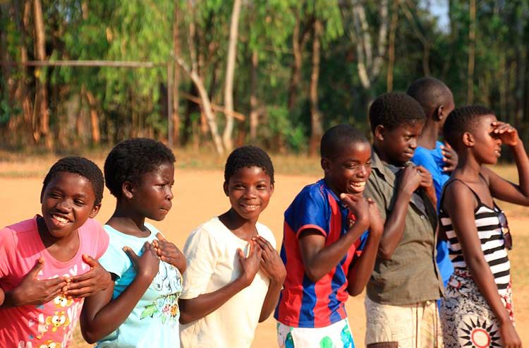 Malawi children laughing in a group